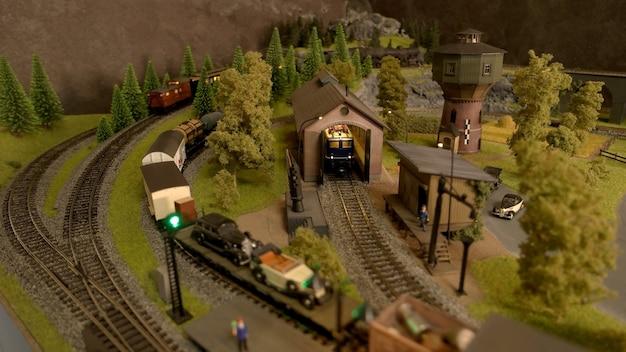 Bovenaanzicht speelgoed locomotieven.