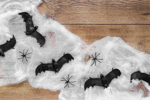 Bovenaanzicht spookachtige halloween vleermuizen