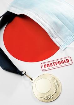 Bovenaanzicht sportevenement uitgesteld assortiment