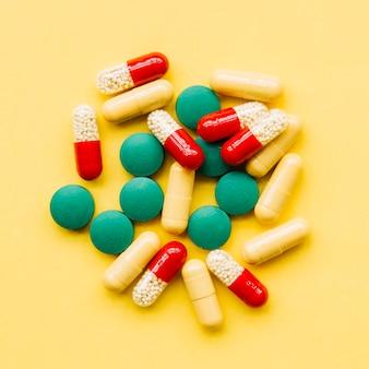 Bovenaanzicht stapel pillen