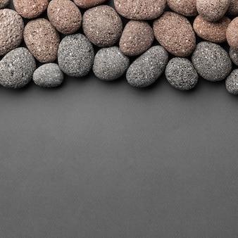Bovenaanzicht stenen met kopie ruimte