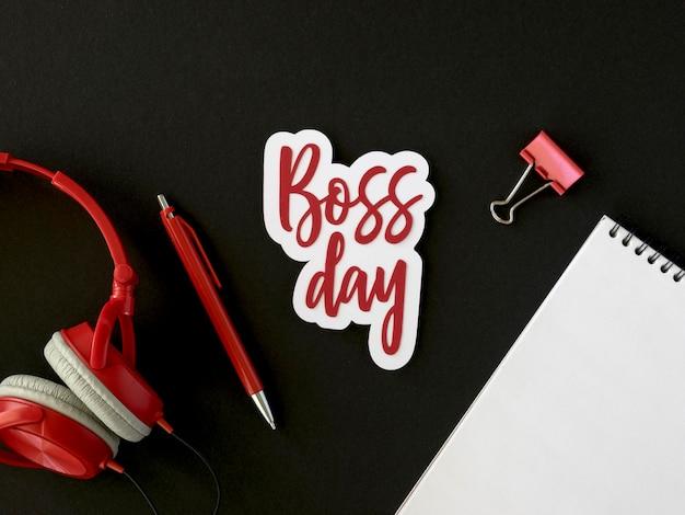 Bovenaanzicht sticker met boss day-ontwerp
