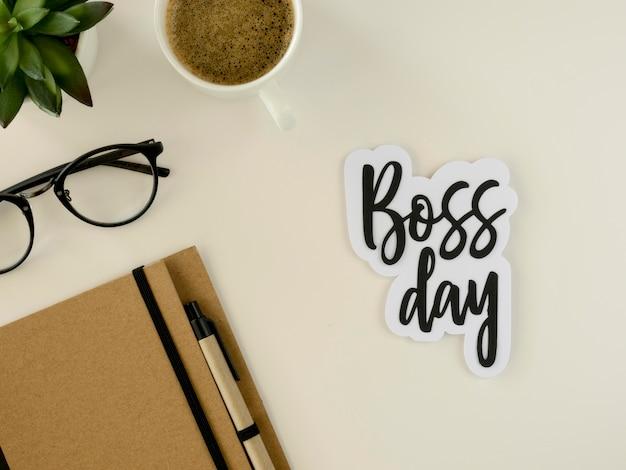 Bovenaanzicht sticker met thema van de dag van de baas