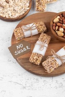 Bovenaanzicht suikervrije snackbars