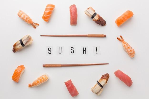 Bovenaanzicht sushi dag concept