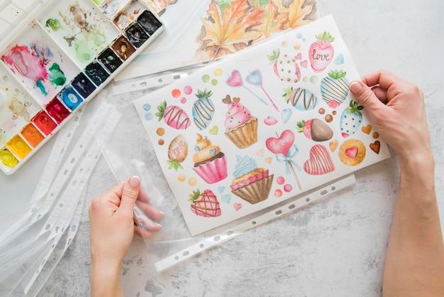 Bovenaanzicht tekenen en aquarellen