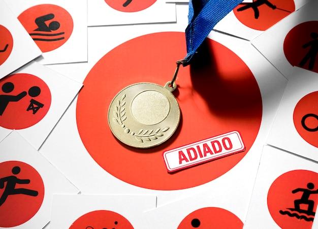 Bovenaanzicht tokyo 2020 sportevenement uitgestelde compositie