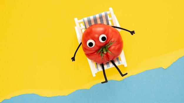 Bovenaanzicht tomaat op ligstoel