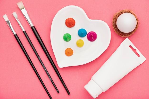 Bovenaanzicht tools voor het schilderen
