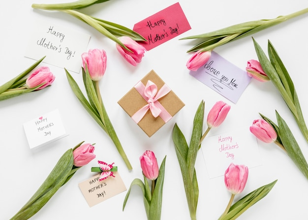 Bovenaanzicht tulpen en huidige arrangement