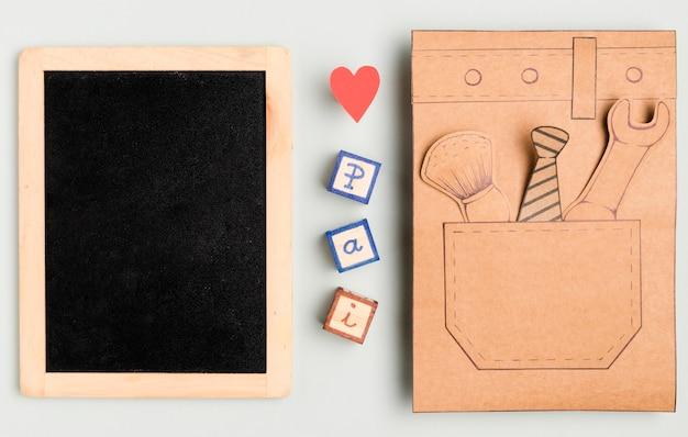 Bovenaanzicht vaderdag concept met frame