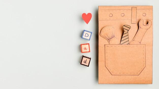 Bovenaanzicht vaderdag concept met kopie ruimte