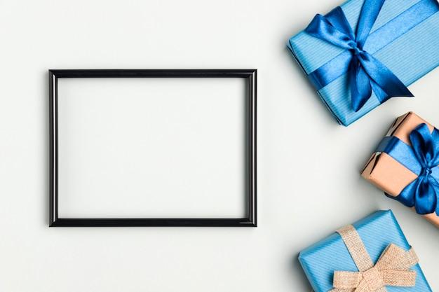 Bovenaanzicht vaderdag presenteert met frame