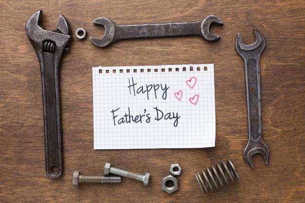 Bovenaanzicht vaderdag tools