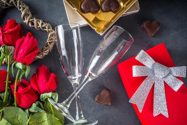 Bovenaanzicht valentijn dag met chocolade hartjes