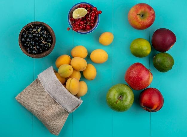 Bovenaanzicht van abrikozen in een jutezak met rode en zwarte bessen appels en perziken op een blauw oppervlak