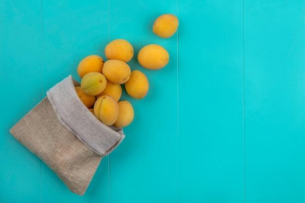 Bovenaanzicht van abrikozen in een jutezak op een blauwe ondergrond