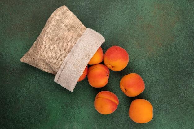 Bovenaanzicht van abrikozen morsen uit zak op groene achtergrond