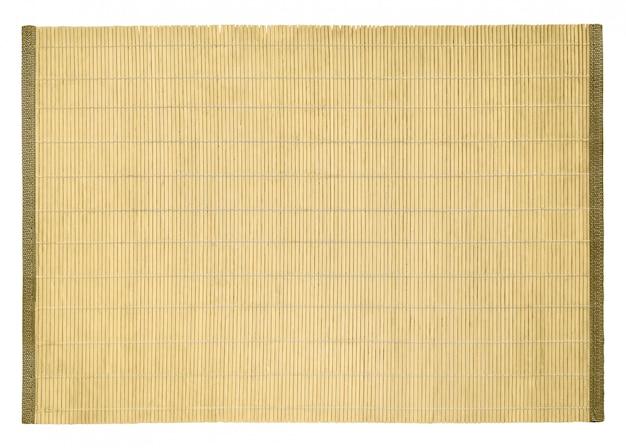 Bovenaanzicht van bamboe tafel onderleggertje voor sushi en ander voedsel