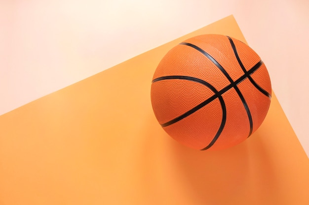 Bovenaanzicht van basketbal met kopie ruimte