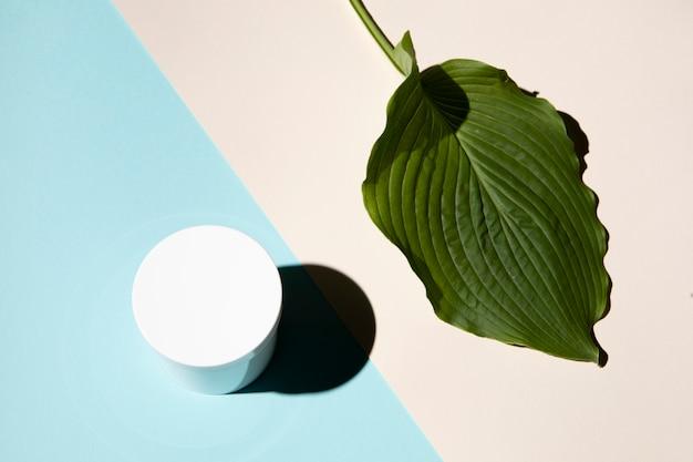 Bovenaanzicht van blad en crème vak