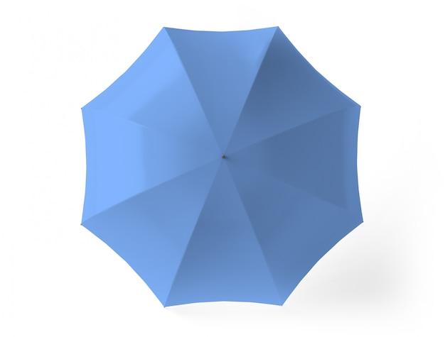 Bovenaanzicht van blauw geïsoleerde paraplu