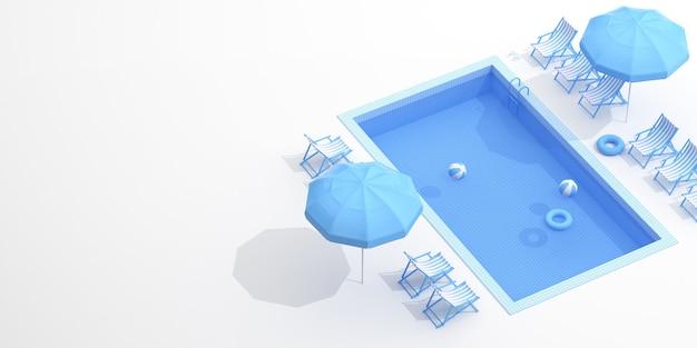 Bovenaanzicht van blauw zwembad met kopie ruimte