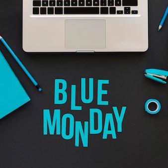 Bovenaanzicht van blauwe maandag concept