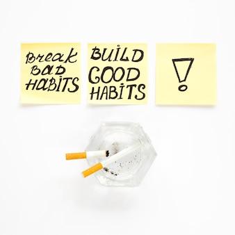 Bovenaanzicht van breken slechte gewoonte concept