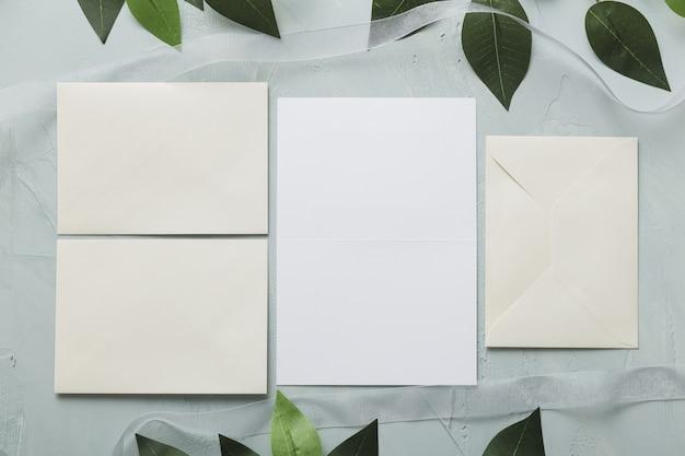 Bovenaanzicht van bruiloft concept met kopie ruimte