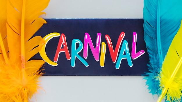 Bovenaanzicht van carnaval schrijven met veelkleurige veren