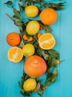 Bovenaanzicht van citrusvruchten als citroen oranje mandarijn en kumquat op blauwe achtergrond versierd met bladeren
