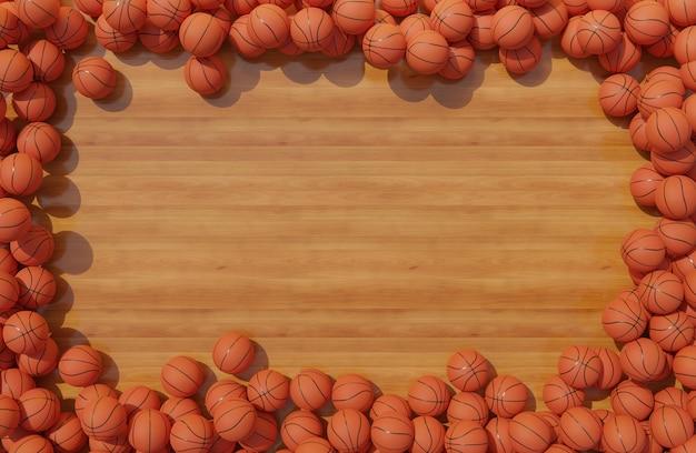 Bovenaanzicht van compositie met basketballen