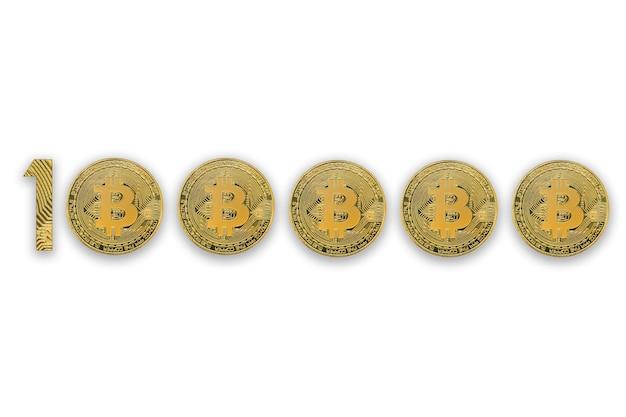 Bovenaanzicht van crypto-valutamunten