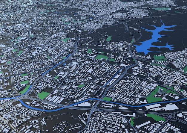 Bovenaanzicht van de grote stad. illustratie in casual grafisch ontwerp. fragment hong kong