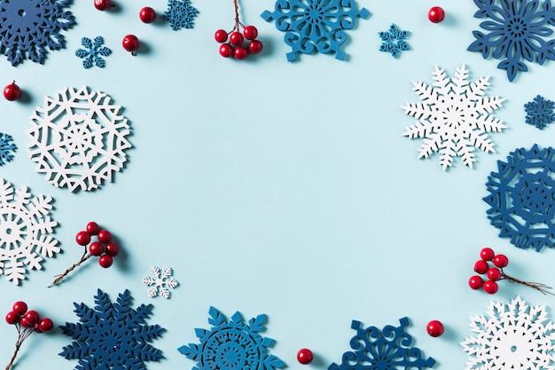 Bovenaanzicht van de mooie winter met kopie ruimte