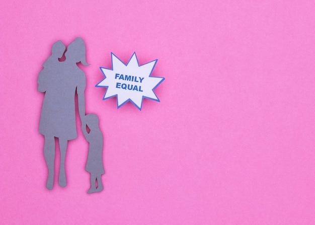 Bovenaanzicht van de prachtige familie van het huisstilleven