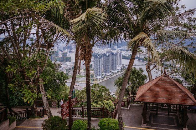 Bovenaanzicht van de stad sanya van hainan vanuit het luhuitou-park, met lokale huizen en luxe hotels en gebouwen. zomervakantieparadijs in azië.