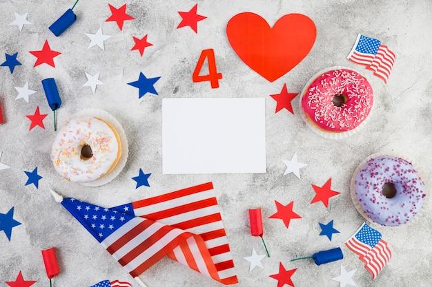 Bovenaanzicht van de verenigde staten independence day decoraties
