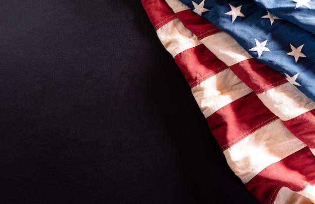 Bovenaanzicht van de vlag van de verenigde staten van amerika