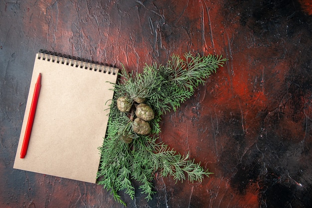 Bovenaanzicht van dennentakken en gesloten spiraalvormig notitieboekje met pen aan de rechterkant op donkere achtergrond