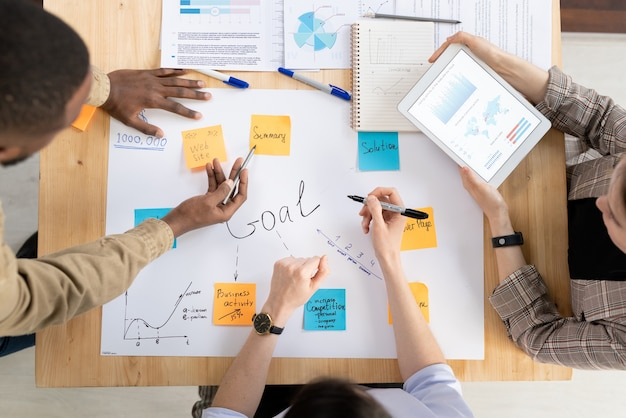 Bovenaanzicht van drie interculturele managers of analisten die zakelijke doelen bespreken die op briefpapier zijn geplakt tijdens de opstartvergadering