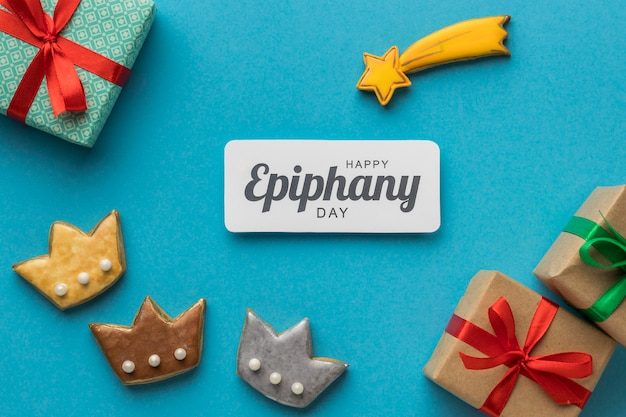 Bovenaanzicht van drie koningen met cadeautjes voor epiphany dag