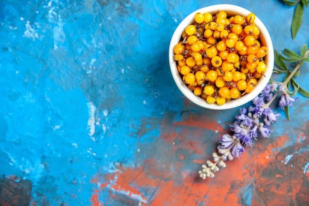 Bovenaanzicht van duindoorn in kom paarse bloemtak op blauwe ondergrond