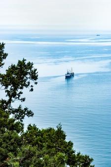 Bovenaanzicht van een boot die langs de heldere kalme zee vaart langs de kust met bloeiende groene bomen op een warme lentedag. concept van zeehaven en zeereizen