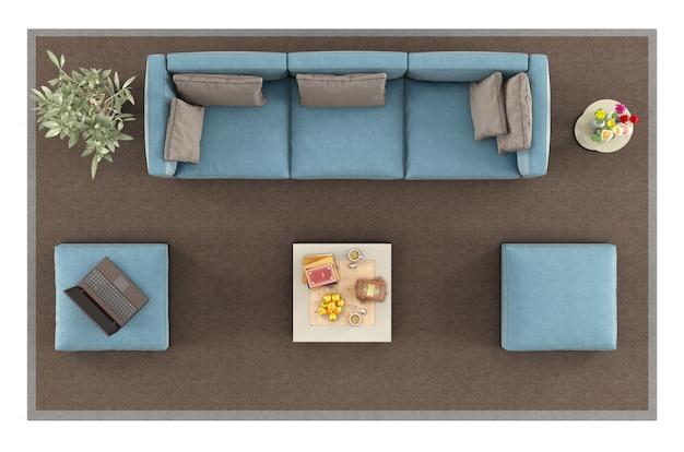 Bovenaanzicht van een moderne blauwe sofa op tapijt