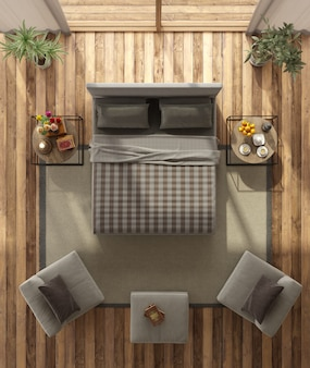 Bovenaanzicht van een moderne slaapkamer
