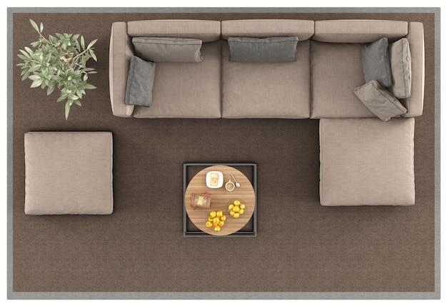 Bovenaanzicht van een moderne sofa op tapijt