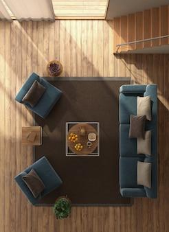 Bovenaanzicht van een moderne woonkamer
