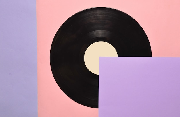 Bovenaanzicht van een retro vinyl plaat